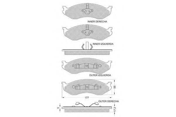PROCODIS FRANCE PF1209 Комплект тормозных колодок, дисковый тормоз